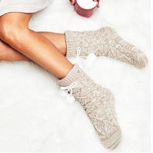 UGG Fleece Lined Cable Knit Crew Sock